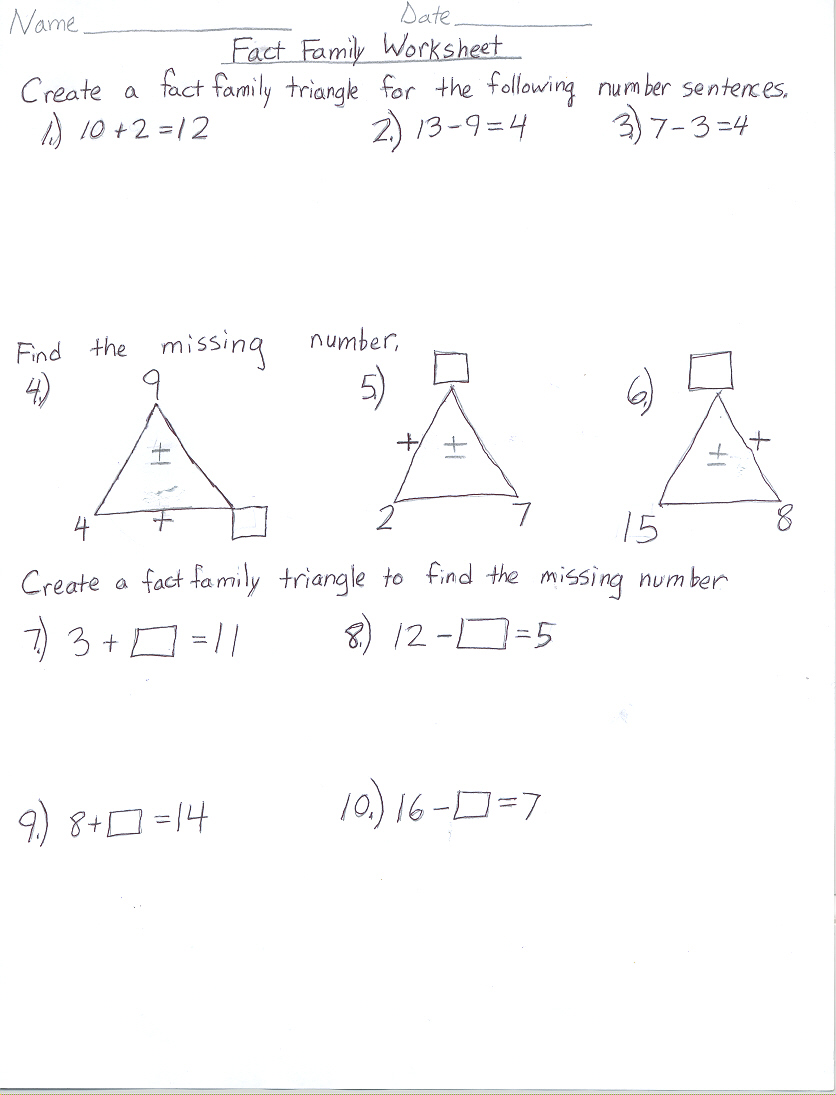 worksheet Fact Family Triangles Duliziyou Worksheets for – Multiplication and Division Fact Family Worksheets